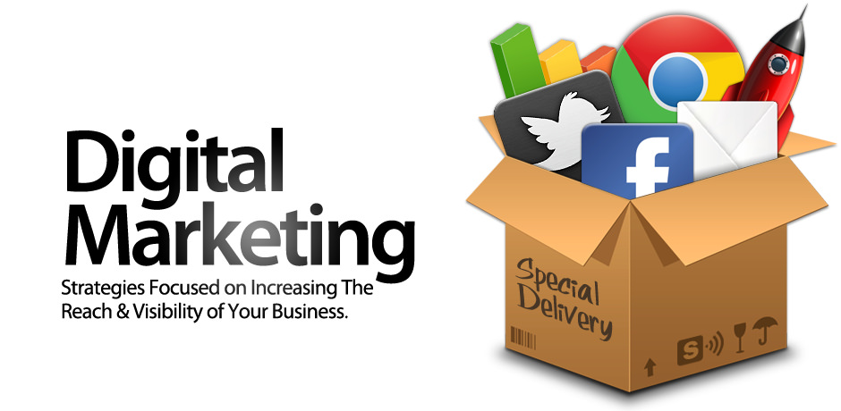 digital marketing box filled with social media icons