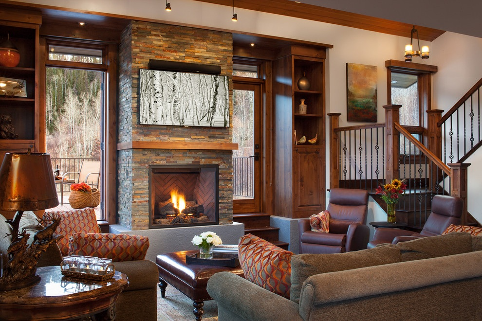 rustic indoor home entertainment system